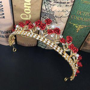 Alta Moda Rose roja brillante del Rhinestone tiaras y coronas de las vendas para la novia del banquete de boda de novia Noiva