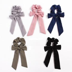 INS Chiffon Vintage Hair Scrunchies Bow Accesorios para mujeres Bandas para el cabello Corbatas Scrunchie Ponytail Holder Cuerda de goma Decoración Big Long Bow