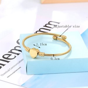 High Quality Stainless Steel Adjustable Size Women Bangle Heart Charm Bracelet armbanden voor vrouwen Pulsera para mujer