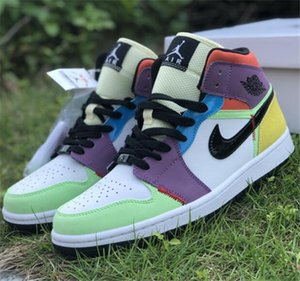 Newest Release Authentic Air1 Mid Multicolor basketball shoes 1 Mid SE CW1140-100 Mens Womens outdoor Trainer Sport sneakers US 4-13 A38