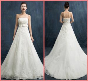 Livraison gratuite 2019 une ligne dentelle blanche élégante robe de APPLIQUES mariée empire formel cou Sweetheart robe de mariée best-seller