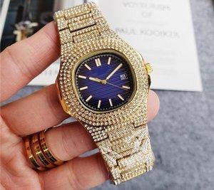 Voll vereisten Luxus-Platz Diamant-Quarz-Mann-Uhr-Qualitäts-Diamant-Band-Quarz-Edelstahl Saphir volle Funktion Herrenuhr