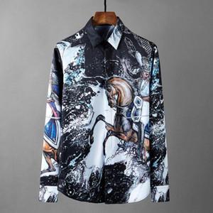 슬림 맞는 남자 셔츠 4XL 새로운 남성 셔츠 로얄 ALLOVER 인쇄 긴 소매 남성 셔츠 패션 캐주얼 셔츠 남성 플러스 사이즈