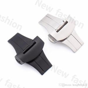 New Substituto de moda em aço inox escovado Panerai borboleta dupla sólida fivela Silicone pulseira bracelete de 20 mm / 22 milímetros