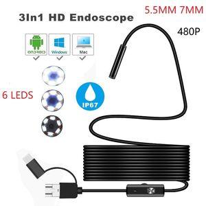 3 in1 Micro USB Tipo-c di controllo di periscopio di controllo dell'endoscopio fotografica impermeabile HD Camera 5,5 millimetri 7 millimetri USB 6 LED Professional Video