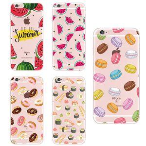 Para Apple iPhone 6 XS Max 7 7 Plus 8 8 Plus X Comida Fruta Café Piña Limón Banana Cactus Fresa Sushi Cubierta de la caja del teléfono