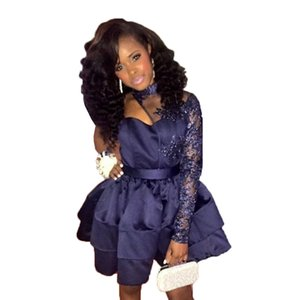 Navy Blue Short Homecoming Dresses Cheap One Shoulder Cocktail Prom Dresses Long Sleeves Lace Appliques High Neck Formal Dress Party Gowns