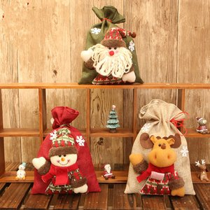 Şeker Noel Baba Doll Dekoratif Çanta Noel Çerez Çanta Noel Hediye için Noel Çuval 3pcs / set Hediyelik Çantalar Paketleme