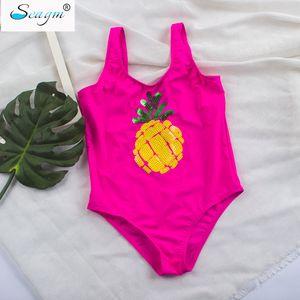 Seagm детский купальный костюм для девочек бразильский детский детский купальник цельный купальник для девочек золотые блестки ананасовый купальник 21