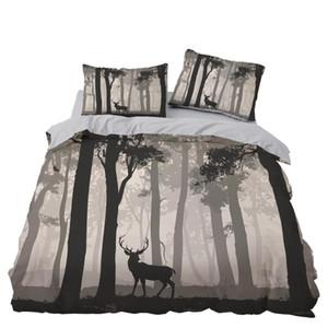Elk Fog Forest Bedding Set Bedroom Decor Bedspread Gift Microfiber Hypoallergenic Zipper 1PC Duvet Cover Pillowcase