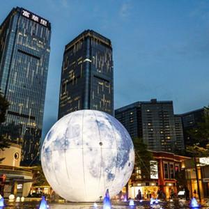 2m / 5m Inflatable Mond Riesen Mond-Ballon-LED Inflatable Satelliten Beleuchtung Aufgeblasen Mond mit LED-Licht