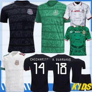 19/20 tailandesa México 2020 Copa de Oro 2019 camisa Camisetas H.LOZANO DOS SANTOS CHICHARITO 1998 MEXICO RETRO Fútbol Man Jersey niños kit de fútbol
