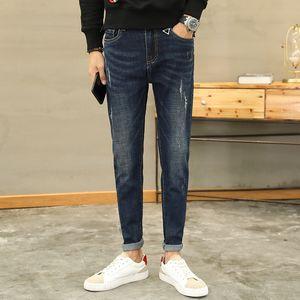 mens designer jeans big crotch holes small feet autumn tight trend thin leg pants