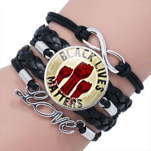 Infinity Love Bracelets Black Lives Note Je ne peux pas respirer J'ai une lettre de rêve Hommes Mode En Cuir Cuir Sangles Femmes Braid Charm Bijoux