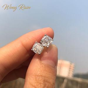Wong Regen Classic 100% 925 silberne Erstellt Moissanite Edelstein-Hochzeits-Verpflichtungs-Ohr-Bolzen-Ohrringe edlen Schmuck Großhandel CX200628