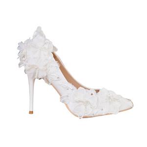 Neue Ankunft Brautschuhe für die Braut handgemachte Spitze-Blumen-Brautparty Fersen Abschlussball-Partei formalen Schuhabsatz 11cm 9cm 6cm Größe 35-42 freies Schiff
