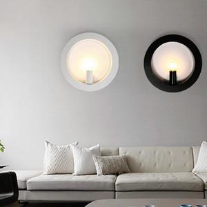 lámpara de pared LED de pared de luz de la lámpara de iluminación de pared en blanco y negro de café restaurante interior de CA 220V LED de la manera para el dormitorio de la sala -I134