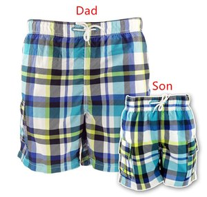 Funfeliz Père Fils Trunk Natation Famille mathcing Vêtements Plaid Maillots de bain Garçons Shorts de planche maillot de bain parent-enfant Beachwear