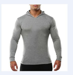 Mens GYM Fitness Hoodies Solid Color Hooded Athletic Casual Sports Sweatshirts Tops Long Sleeves