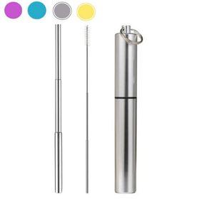 Nouveautés FDA Portable Pailles à boire pliantes réutilisables en acier inoxydable Pailles pliantes télescopiques en métal avec boîtier de nettoyage en aluminium