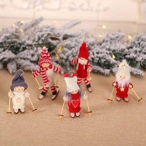 Arbre de Noël Pendentif Mini Doll Décoration de Noël Décorations de Noël Figurine ski Poupée Jouet en bois de Noël Hôtel Décoration ZZA1421-3