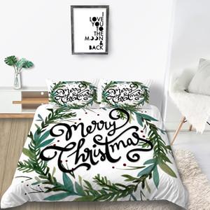Noel Yatak Seti Çelenk Fantezi Yumuşak Beyaz Nevresim Kraliçe Kral İkiz Tam Tek Kişilik yastık kılıfı ile Kapağı Yatak