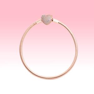 18K Rose banhado Encantos Pulseiras com caixa original para Pandora 925 Corações do amor Prata Cobra Cadeia Pulseira Mulheres de jóias de casamento