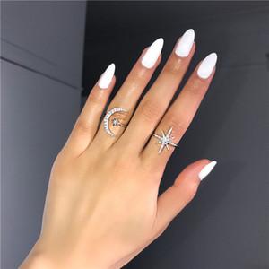 Vecalon Королева Star Moon Promise Ring 100% Реальные 925 стерлингового серебра Алмазное обручальное кольцо кольца для женщин Fine Jewelry