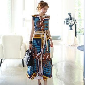 New Fashion 2019 Designer 2 Piece Set femmes sans manches Vintage imprimé en mousseline de soie queue d'aronde en chemise + lacets jupes longues 2pcs ensemble Y19062201