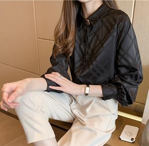 Qualité piste dames en satin de soie Blouses Bouton à manches longues à carreaux cou Lapel femmes Shirt Plus Size Bureau Casual Designer Chemises Hauts