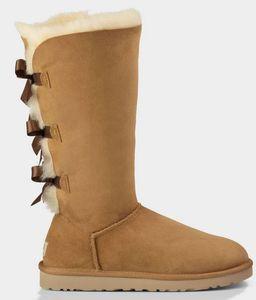 2020 Winter über das Knie Bowtie lädt Schenkel-hohe Stiefel-Massiv Nubukleder Scuffs im Freien Frauen Mädchen Schwarz Grau Marineblau Schuhe