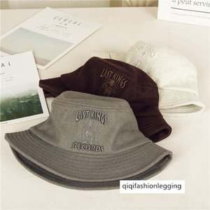 English style letter embroidered wool basin flat top thickened fisherman warm felt tide hat foldable