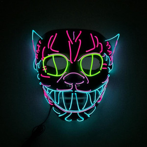 Halloween Dekoration LED MASKE Glowing Cat Mask Kostüm Anonym Maske für Glowing Dance Karneval Party Masken
