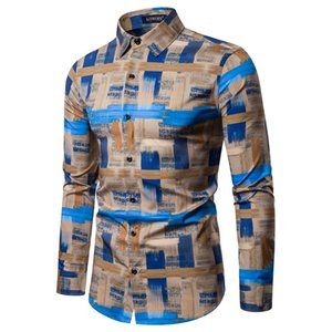 Mens Ethnic Estilo Vintage Printing Magro vestido camisa manga comprida Blusa Tops Moda Low Price Discount Homem Mulher Estilo