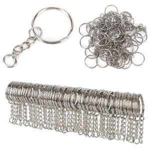 Cor de Prata polido 25mm Chaveiro Chaveiro Dividir Anel com Cadeia Curta Anéis Chave Homens Mulheres DIY Chaveiros acessórios