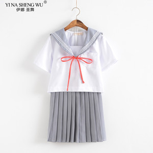 Uniform Grey Branco Anime japonês meninas da High School Fardas JK Cosplay Student saia plissada Sailor Suit Style coreano