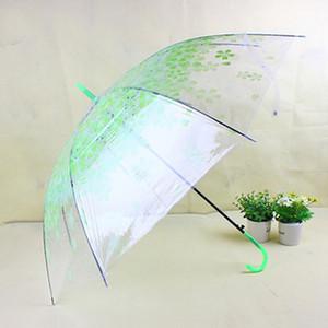 الألوان النساء مطبوعة الرباط أزهار الكرز شفافة مظلة متعدد السيدات تأثيري استخدام طويل مقبض شبه التلقائي مظلة DH0805 T03