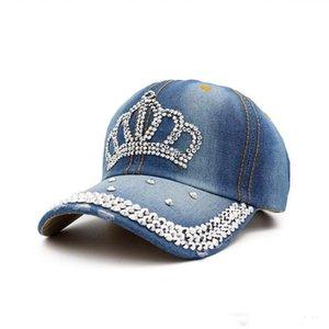 Bling Couronne Caps Réglable Lavé Denim Baseball Caps Femmes Cowboy Chapeaux Fantaisie D'été Chapeaux Dames Visière