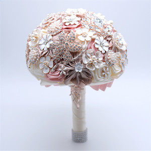 라인 석 결혼식 신부 꽃을 들고 1 번들 아름다운 보석 브로치 꽃다발 크리스탈 신부 꽃을 들고