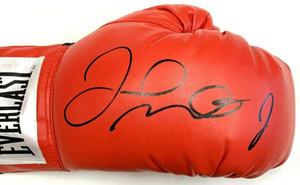 Floyd`mayweather firmó el guante de boxeo rojo autografiado