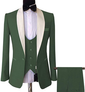 Olive Green One Button Groomsmen Shawl Lapel Wedding Groom Tuxedos Men Suits Wedding Prom Dinner Best Man Blazer(Jacket+Vest+Pants)