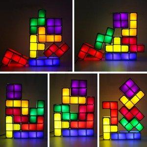 1Set DIY Tetris Puzzle Light empilhável LED Desk Lamp constructible Bloco Noite Crianças Luz do presente da Torre do bebê colorido tijolo