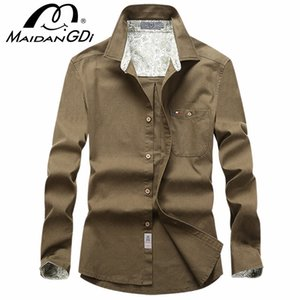 Men's Shirts 2020 Spring Autumn Long Sleeved Solid Color Tops male's Fashion Slim Shirts 100% Solid Cotton Tops Street Wear