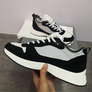 Uomini obliqui piattaforma della pelle scamosciata B25 Sneaker Bianco Nero Runner formatori di cuoio reali degli uomini Scarpe da ginnastica Tennies superiore con la scatola