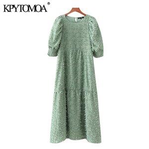 KPYTOMOA Kadınlar 2020 Şık Moda ile Püskül Midi Elbise Vintage O Boyun Puff Kollu Kadın Elbiseler vestidos Mujer