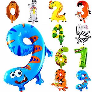 1pcs 16inch Número hoja hincha Kids Party Animal Decoración feliz cumpleaños boda Decoración Balón de regalo