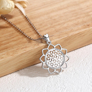 Eudora Sterling Silver Flower Of life Pendant Neckalce Flower Charm Jewelry For Women Angel Caller 925 Silver Jewelrys CYD420