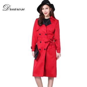 Dreawse 가을 여성 스웨이드 코트 여성 플러스 사이즈의 S-6XL 단색 롱 트렌치 코트 슬림은 얇은 팜므 윈드 MZ2877이었다
