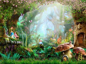 Magie Wald Bäume Fee Schloss Cartoon Vinyl Fotografie Kulissen Pilz Blumen Photo Booth Hintergründe Für Kinder Party Studio Pr