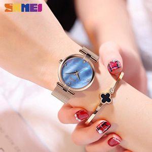 SKMEI NEW Fashion Ladies Watch Quartz Watches Waterproof Stainless Steel Band Women Quartz Wristwatch Reloj Femenino